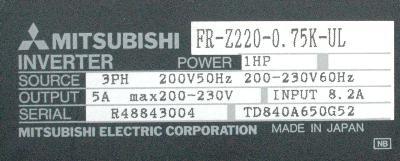 New Refurbished Exchange Repair  Mitsubishi Inverter-General Purpose FR-Z220-0.75K-UL Precision Zone
