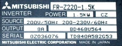 New Refurbished Exchange Repair  Mitsubishi Inverter-General Purpose FR-Z220-1.5K Precision Zone