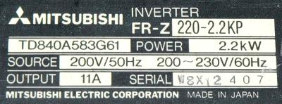 New Refurbished Exchange Repair  Mitsubishi Inverter-General Purpose FR-Z220-2.2KP Precision Zone