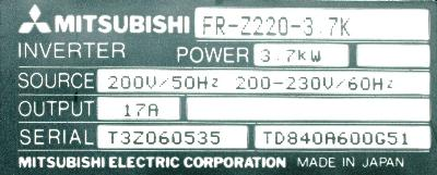 New Refurbished Exchange Repair  Mitsubishi Inverter-General Purpose FR-Z220-3.7K Precision Zone