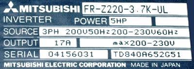 New Refurbished Exchange Repair  Mitsubishi Inverter-General Purpose FR-Z220-3.7K-UL Precision Zone