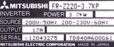New Refurbished Exchange Repair  Mitsubishi Inverter-General Purpose FR-Z220-3.7KP Precision Zone