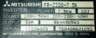 New Refurbished Exchange Repair  Mitsubishi Inverter-General Purpose FR-Z220-7.5K Precision Zone