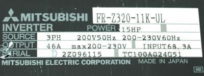 New Refurbished Exchange Repair  Mitsubishi Inverter-General Purpose FR-Z320-11K-UL Precision Zone
