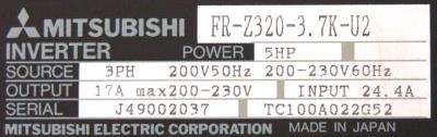 New Refurbished Exchange Repair  Mitsubishi Inverter-General Purpose FR-Z320-3.7-U2 Precision Zone
