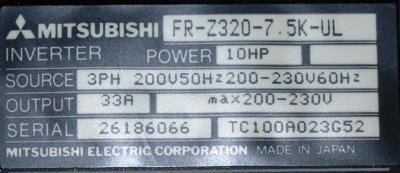 New Refurbished Exchange Repair  Mitsubishi Inverter-General Purpose FR-Z320-7.5K-UL Precision Zone