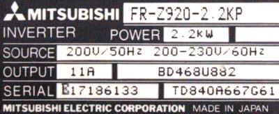 New Refurbished Exchange Repair  Mitsubishi Inverter-General Purpose FR-Z920-2.2KP Precision Zone