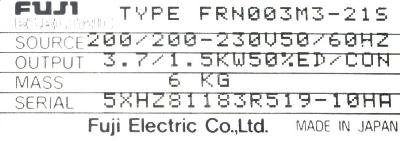 New Refurbished Exchange Repair  Fuji Inverter-General Purpose FRN003M3-21S Precision Zone