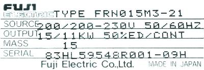 New Refurbished Exchange Repair  Fuji Inverter-General Purpose FRN015M3-21 Precision Zone