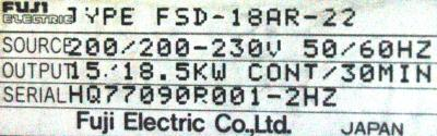 New Refurbished Exchange Repair  Fuji Drives-AC Spindle FSD-18AR-22 Precision Zone