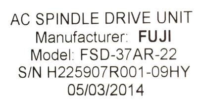 New Refurbished Exchange Repair  Fuji Drives-AC Spindle FSD-37AR-22 Precision Zone
