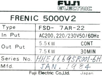 New Refurbished Exchange Repair  Fuji Drives-AC Spindle FSD-7AR-22 Precision Zone