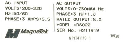 New Refurbished Exchange Repair  Magnetek Inverter-General Purpose GPD333-DS022 Precision Zone