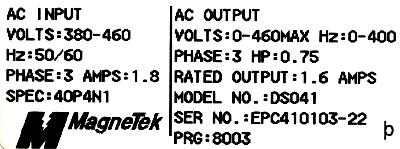 New Refurbished Exchange Repair  Magnetek Inverter-General Purpose GPD333-DS041 Precision Zone
