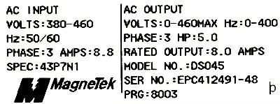 New Refurbished Exchange Repair  Magnetek Inverter-General Purpose GPD333-DS045 Precision Zone