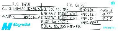 New Refurbished Exchange Repair  Magnetek Inverter-General Purpose GPD503-DS316 Precision Zone