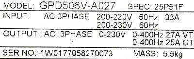 New Refurbished Exchange Repair  Magnetek Inverter-General Purpose GPD506V-A027 Precision Zone