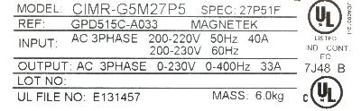 New Refurbished Exchange Repair  Magnetek Inverter-General Purpose GPD515C-A033 Precision Zone