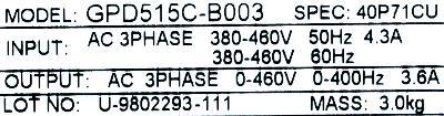 New Refurbished Exchange Repair  Magnetek Inverter-General Purpose GPD515C-B003 Precision Zone