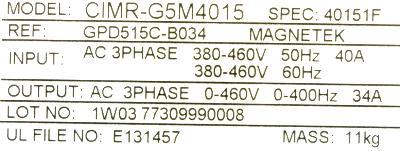 New Refurbished Exchange Repair  Magnetek Inverter-General Purpose GPD515C-B034 Precision Zone