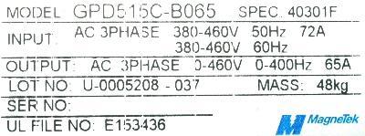 New Refurbished Exchange Repair  Magnetek Inverter-General Purpose GPD515C-B065 Precision Zone