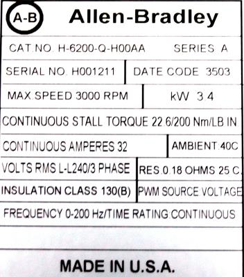 New Refurbished Exchange Repair  Allen-Bradley Motors-AC Servo H-6200-Q-H00AA Precision Zone