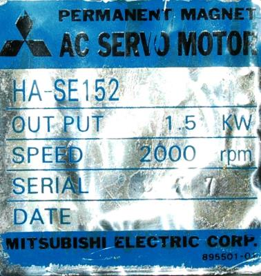 New Refurbished Exchange Repair  Mitsubishi Motors-AC Servo HA-SE152 Precision Zone