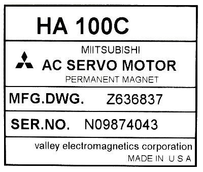 New Refurbished Exchange Repair  Mitsubishi Motors-AC Servo HA100C Precision Zone
