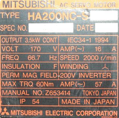 New Refurbished Exchange Repair  Mitsubishi Motors-AC Servo HA200NC-S Precision Zone
