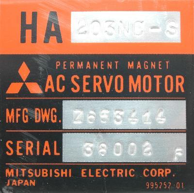 New Refurbished Exchange Repair  Mitsubishi Motors-AC Servo HA203NC-S Precision Zone