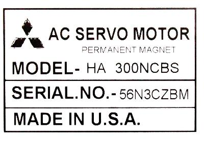 New Refurbished Exchange Repair  Mitsubishi Motors-AC Servo HA300NCBS Precision Zone