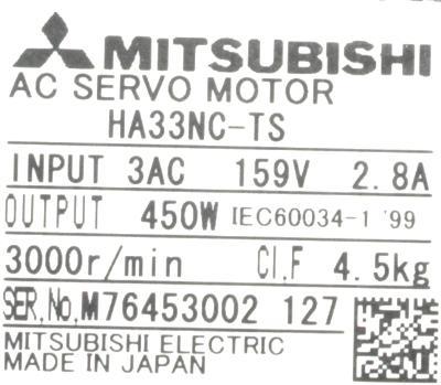 New Refurbished Exchange Repair  Mitsubishi Motors-AC Servo HA33NC-TS Precision Zone
