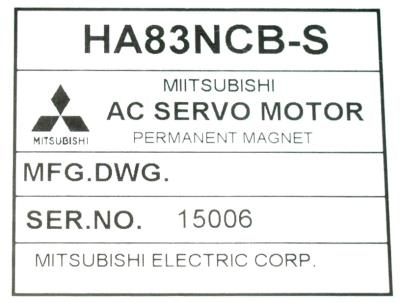 New Refurbished Exchange Repair  Mitsubishi Motors-AC Servo HA83NCB-S Precision Zone