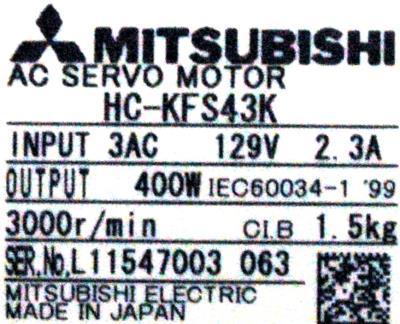 New Refurbished Exchange Repair  Mitsubishi Motors-AC Servo HC-KFS43K Precision Zone