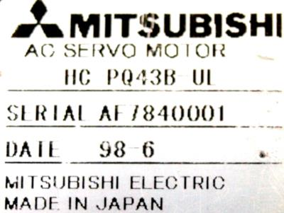 New Refurbished Exchange Repair  Mitsubishi Motors-AC Servo HC-PQ43B-UL Precision Zone