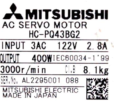 New Refurbished Exchange Repair  Mitsubishi Motors-AC Servo HC-PQ43BG2 Precision Zone