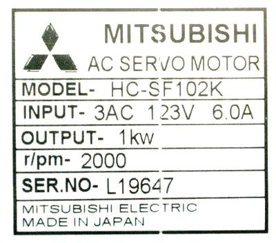 New Refurbished Exchange Repair  Mitsubishi Motors-AC Servo HC-SF102K Precision Zone