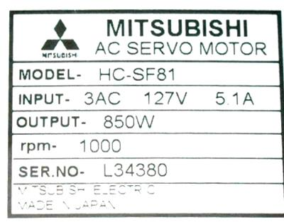 New Refurbished Exchange Repair  Mitsubishi Motors-AC Servo HC-SF81 Precision Zone