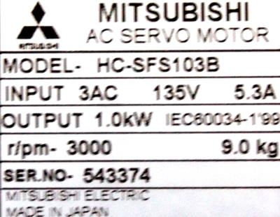 New Refurbished Exchange Repair  Mitsubishi Motors-AC Servo HC-SFS103B Precision Zone
