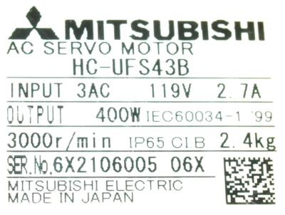 New Refurbished Exchange Repair  Mitsubishi Motors-AC Servo HC-UFS43B Precision Zone