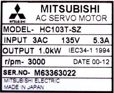 New Refurbished Exchange Repair  Mitsubishi Motors-AC Servo HC103T-SZ Precision Zone