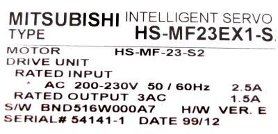 New Refurbished Exchange Repair  Mitsubishi Motors-AC Servo HS-MF23EX1-S2 Precision Zone