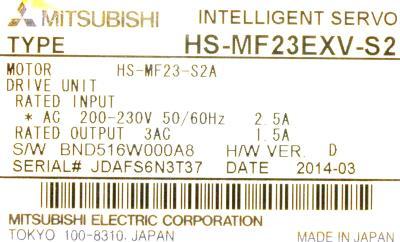 New Refurbished Exchange Repair  Mitsubishi Motors-AC Servo HS-MF23EXV-S2 Precision Zone