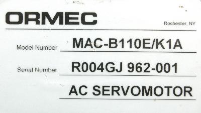 New Refurbished Exchange Repair  Ormec Motors-AC Servo MAC-B110E-K1A Precision Zone