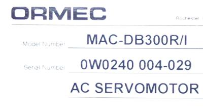 New Refurbished Exchange Repair  Ormec Motors-AC Servo MAC-DB300R-I Precision Zone