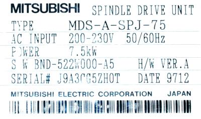 New Refurbished Exchange Repair  Mitsubishi Drives-AC Spindle MDS-A-SPJ-75 Precision Zone