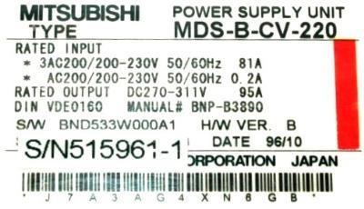New Refurbished Exchange Repair  Mitsubishi Drives-AC Spindle MDS-B-CV-220 Precision Zone