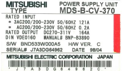 New Refurbished Exchange Repair  Mitsubishi Drives-AC Spindle MDS-B-CV-370 Precision Zone