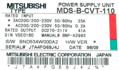 New Refurbished Exchange Repair  Mitsubishi Drives-AC Spindle MDS-B-CVT-110 Precision Zone