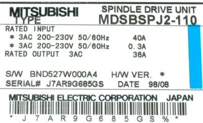 New Refurbished Exchange Repair  Mitsubishi Drives-AC Spindle MDS-B-SPJ2-110 Precision Zone